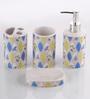 @ Home Blue Porcelain Bone China Bath Accessories - Set of 4