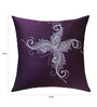 13 Odds Indigo Art Silk 16 x 16 Inch Contemporary Stylised Butterfly Quilted & Embroidery Cushion Cover