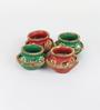 Aapno Rajasthan Multicolour Terracotta & Wax Decorated & Hand Painted Matki Diyas - Set of 4
