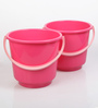 All Time Plastic 25 L Pink Buckets with Handle - Set of 2
