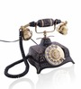Anantaran Black Brass Antique Square Hand Carved Telephone