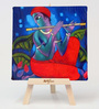 Artflute Cotton & Canvas 7 x 1 x 7 Inch Krishna Framed Digital Art Print with Wooden Easel