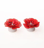 Asian Artisans Red Wax Floral Candle - Set of 2