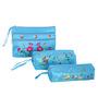 Asian Artisans Vietnamese Silk Light Blue Travel Pouch - Set of 3