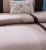 Bella Blue and Beige Cotton Queen Size Bedsheet - Set of 3