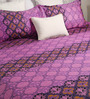 Bombay Dyeing Purple Poly Cotton Queen Size Bedsheet - Set of 3