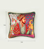Bombay Mill Multicolour Matt Satin 16 x 16 Inch Mughal Style Print & Embroidery Cushion Cover