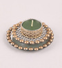 Candles N Beyond Green Metal Mirror Tray with Gold Beads & Tea Light Holder Stand