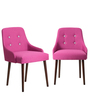 Celano Accent Chair (Set of 2) in Pink Color with Cappuccino Legs by CasaCraft