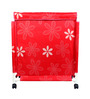CiplaPlast Floral Print Canvas 20 L Red Laundry Basket & Bag Hamper