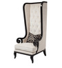 Classic Tall Back Wing Chair with Button Tufted Back in Ivory Color by Afydecor