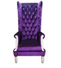 Classic Tall Back Wing Chair in Purple Color by Afydecor