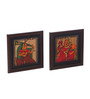 Cocovey Wooden 6 x 6 Inch Traditional Handmade Framed Wall Painting Set - Set of 2