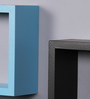 AYMH Black & Sky Blue MDF Nesting Square Wall Shelves - Set of 6
