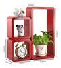 AYMH Red MDF Modern Cube Rectangle Wall Shelf - Set of 3
