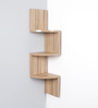 Driftingwood Desert Walnut MDF Zigzag Shape 3-Tier Corner Wall Shelf