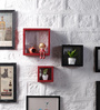 Calista Set Of 3 Wall Shelve in Black & Red by CasaCraft
