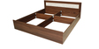 Dylan Queen Bed in Walnut & Dream White Colour by Crystal Furnitech