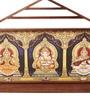 E-Studio Multicolor Teak Wood Ganesh Lakshmi Saraswati Canvas Art