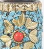 eCraftindia Blue & Gold Wooden Tea Light Holder - Set of 3