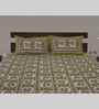 eCraftIndia Green Cotton Floral Double Bed Sheet (with Pillow Covers) - Set of 3