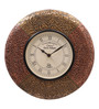 Ethnic Clock Makers Brown MDF & Metal 12 Inch Round Brass & Copper Fit Handmade Wall Clock