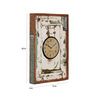 Ethnic Clock Makers White Solid Wood 13 x 3 x 20 Inch White Window Recycled Vintage Wall Clock