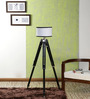 Ethnic Roots Sheesham Wood And White Color Tripod Floor Lamp