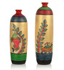 Exclusivelane Multicolour Terracotta Madhubani Hand-Painted Bottle-Shaped Vase - Set of 2