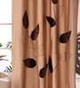 Eyda Brown Polyester 53 x 84 Inch Leaf Trail Door Curtains - Set of 2