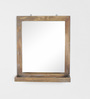 Fabuliv Grey Mango Wood Wall Mounted Mirror with Shelf