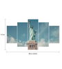 Go Hooked MDF The Statue of Liberty Framed Art Panel - Set of 5