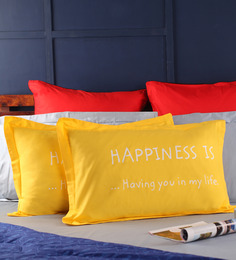 Happiness Pillow Cover In Yellow Colour By Portico