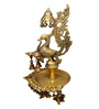 Handecor Yellow Brass Peacock Design Oil Lamp Held by 3 Ladies