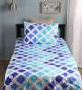 Home Ecstasy Blue Cotton Single Size Bed Sheet - Set of 2