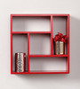 Mauricio Contemporary Wall Shelf in Red by CasaCraft