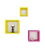 Home Sparkle Yellow and Pink Engineered Wood Square Wall Shelves - Set of 6