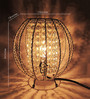 House of Kalaa Silver & Clear Metal & Crystals Table Lamp