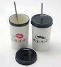 Importwala Black & White Ceramic 500 ML Coffee Mug with Lid & Straw - Set of 2