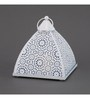 Indecrafts Etched White Iron Pyramid Tealight Holder