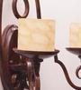 Jainsons Emporio Danvelle Antique Beige & Brown Iron & Glass Double Uplighter Wall Sconce Light