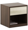 Kosmo Ambry Bed side Table in Moldau Akazia Brown and White Finish by Spacewood