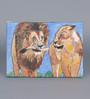 Krish Art Canvas & Acrylic 12 x 1.5 x 7 Inch Lion Couple Original Framed Painting