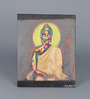 Krish Art Canvas & Acrylic 7.5 x 1.5 x 10.5 Inch Buddha with Red Halo Original Framed Painting