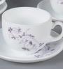 La Opala Iris Large Dazzle Purple Opal Ware 180 ML Cup and Saucer - Set of 6
