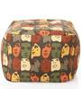 Large Cotton Canvas Abstract Design Ottoman with Beans by Style Homez