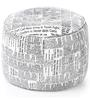 Large Cotton Canvas Round Ottoman Cover in Newspaper Design by Style Homez