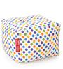 Large Cotton Canvas Polka Dots Design Square Ottoman Cover by Style Homez