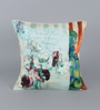 Leaf Designs Grey & Green Poly Duck Floral Vintage Cushion Cover