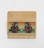 Little India Brown Wooden Gemstone Painting Magazine Key Chain Holder